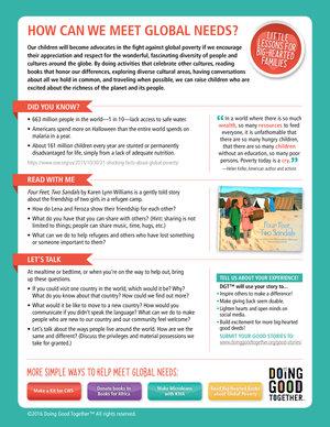 Print DGT's reflection guide when you volunteer to meet  global needs.
