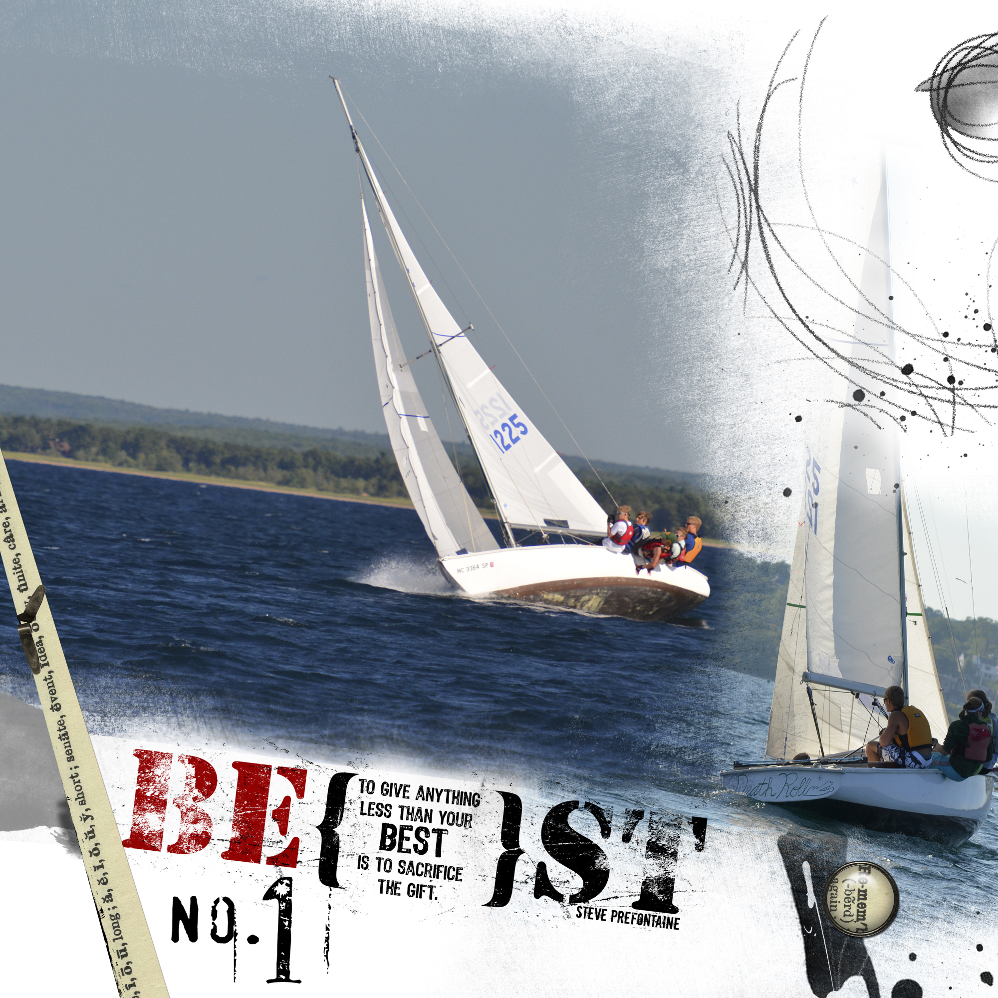 The racing team on Death Roll sails in the 2012 Ensign Nationals.