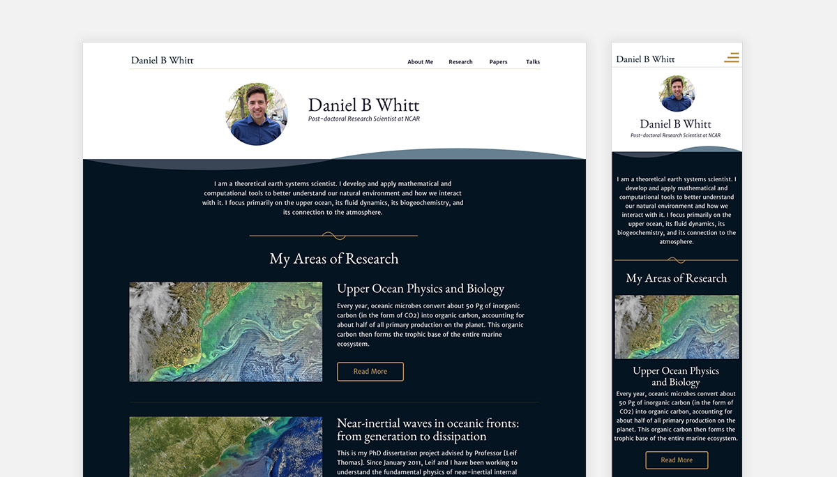 Homepage for Oceanographer Daniel Whitt's website