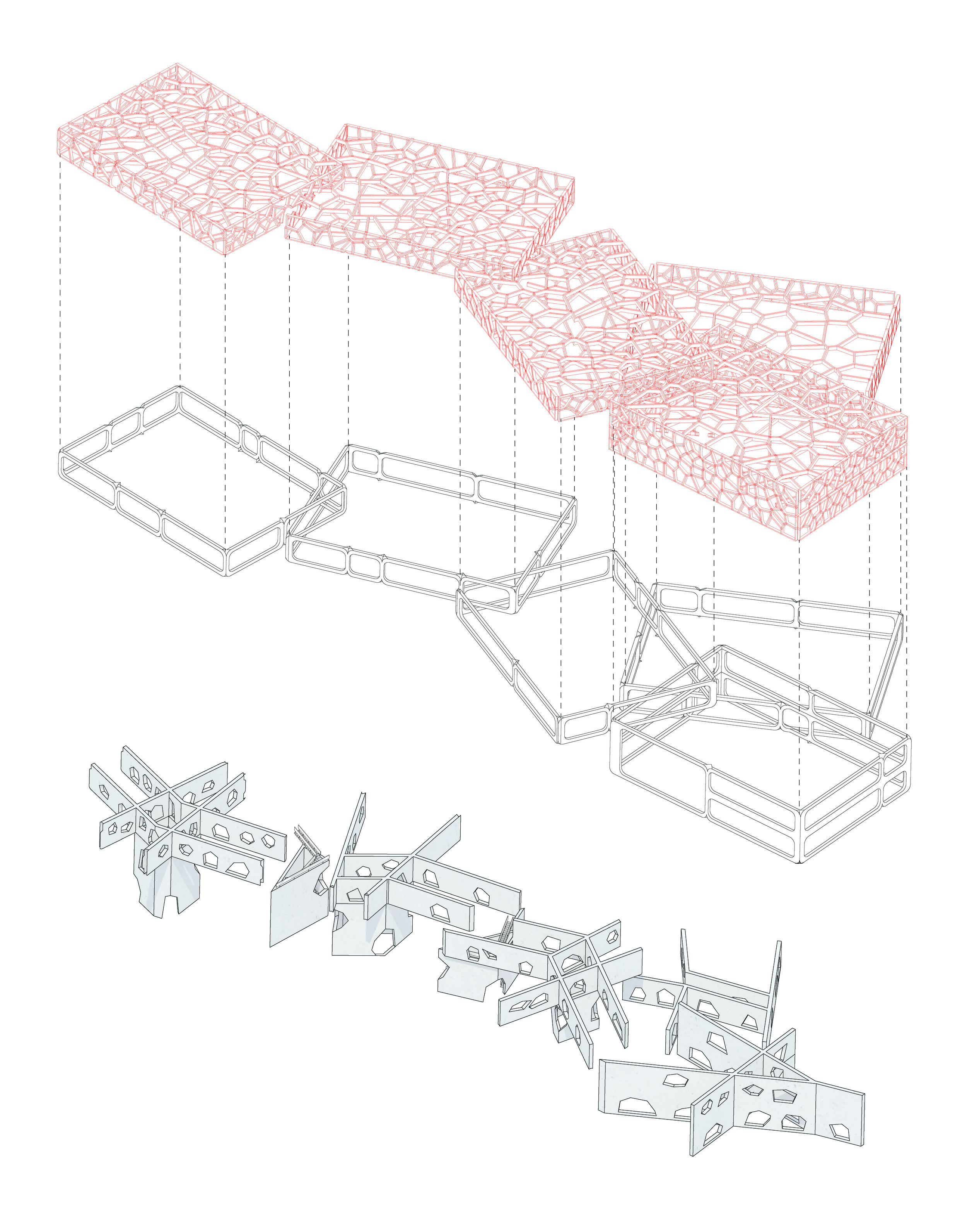 From Top: Cellular Steel Structure, Frame for Openings, Concrete Cores