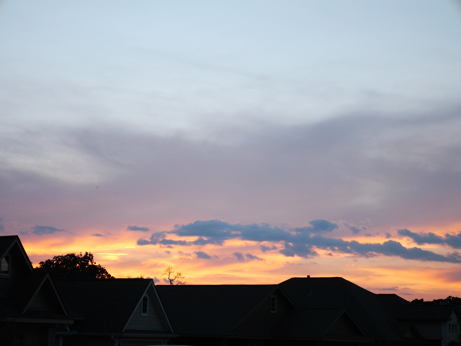 First Texas sunset at the new home