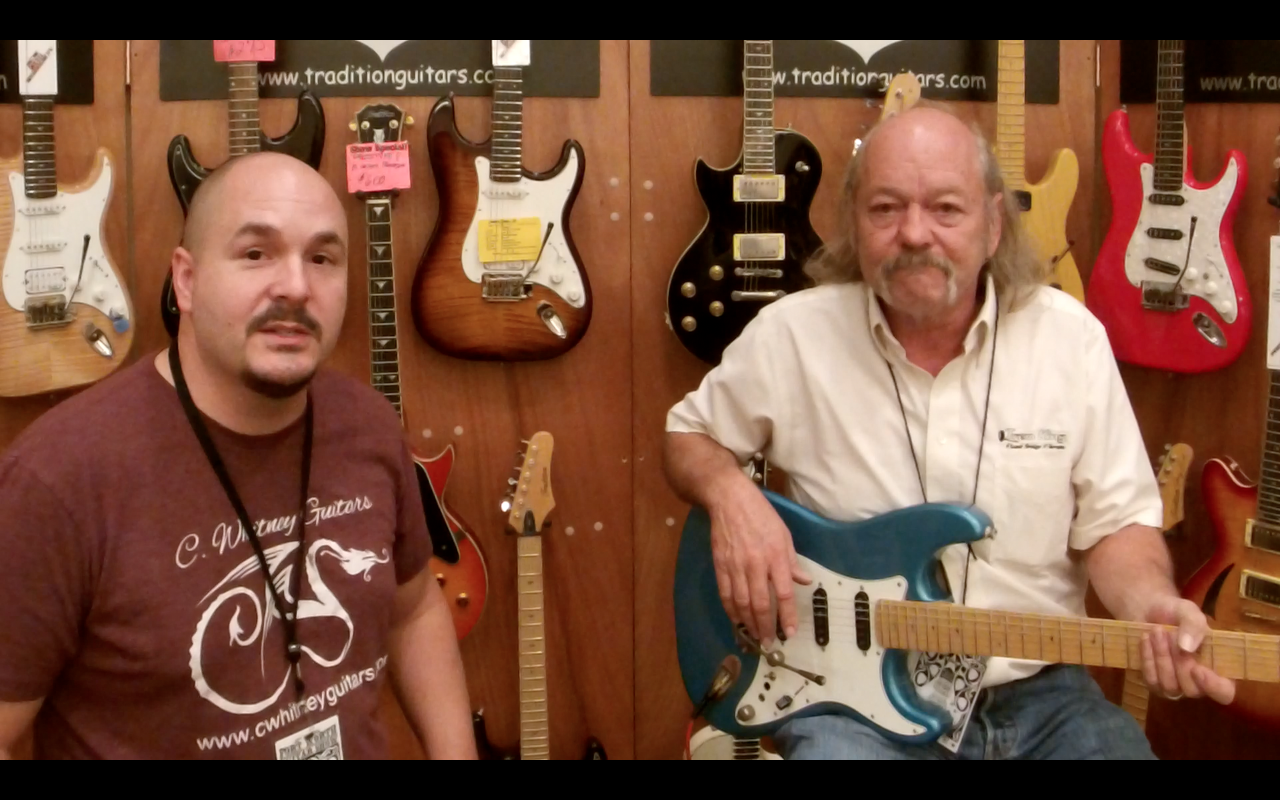 Corey W. with Rusty Bickford of Tradition Guitars and Trem King Fixed Bridge Vibrato