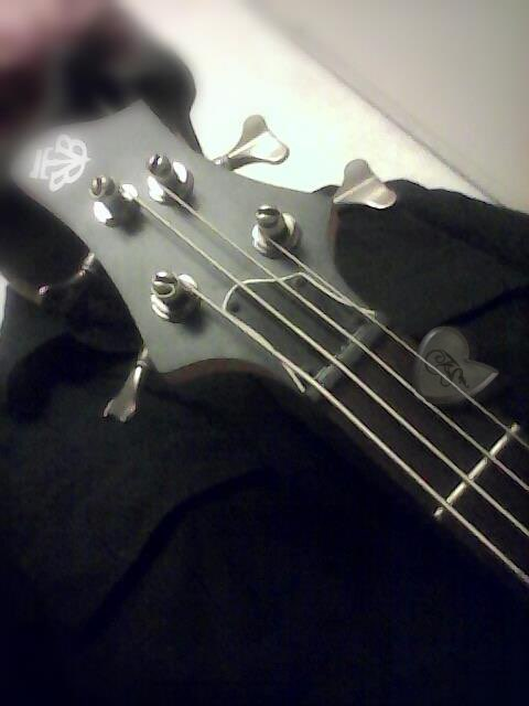 Boris Sin behind his Ibanez Bass and Original Dragon's Heart Guitar Pick