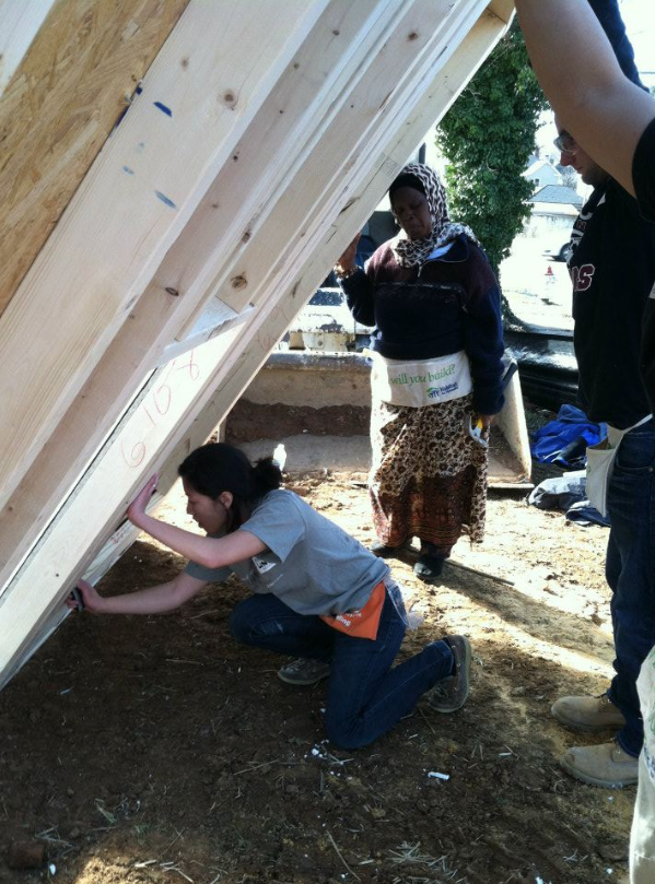 This is me working at a Habitat for Humanity site - I love meeting the homeowners who are always on-site to learn as much as they can about their homes.