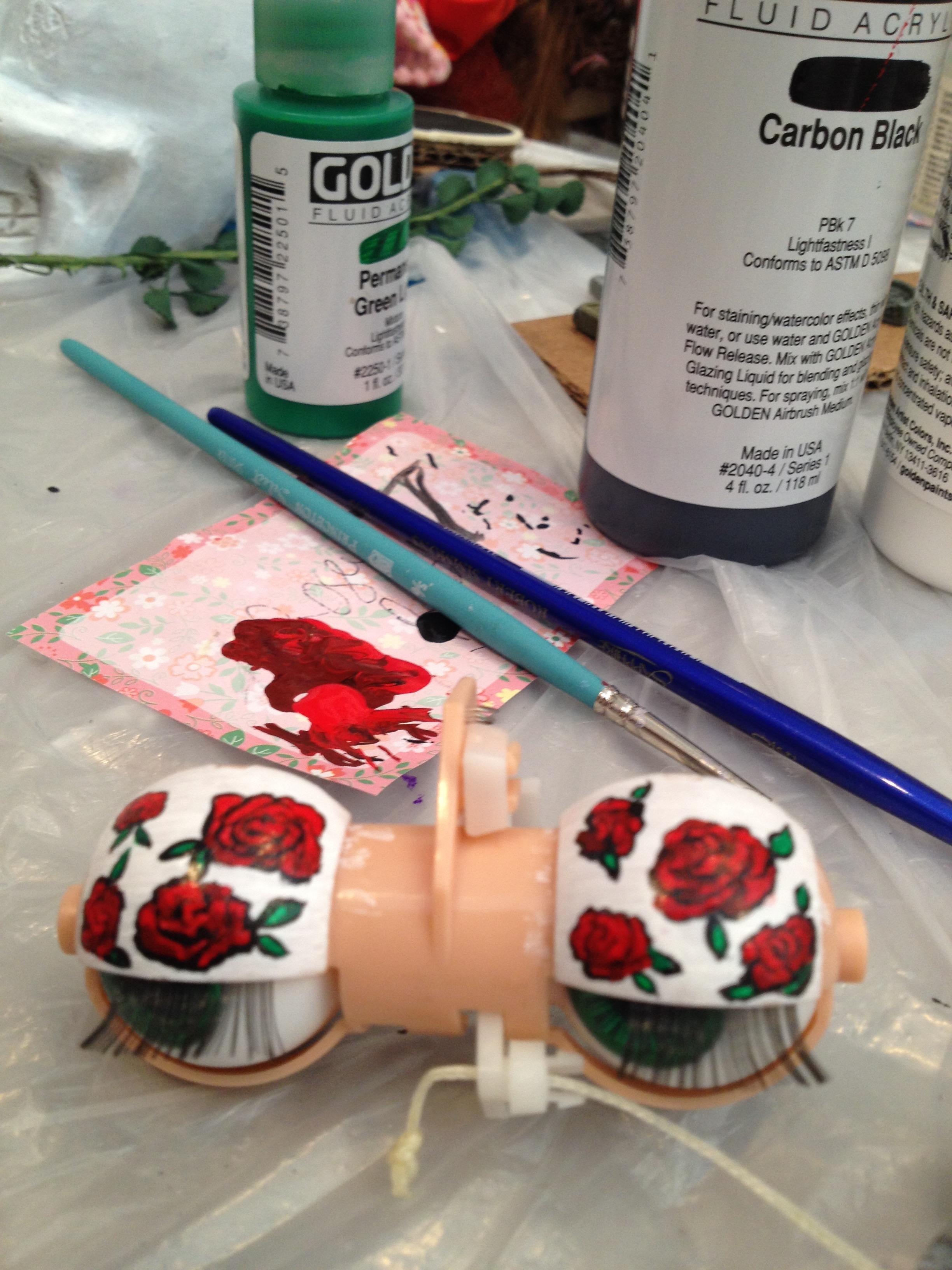 Eyelid painting in progress