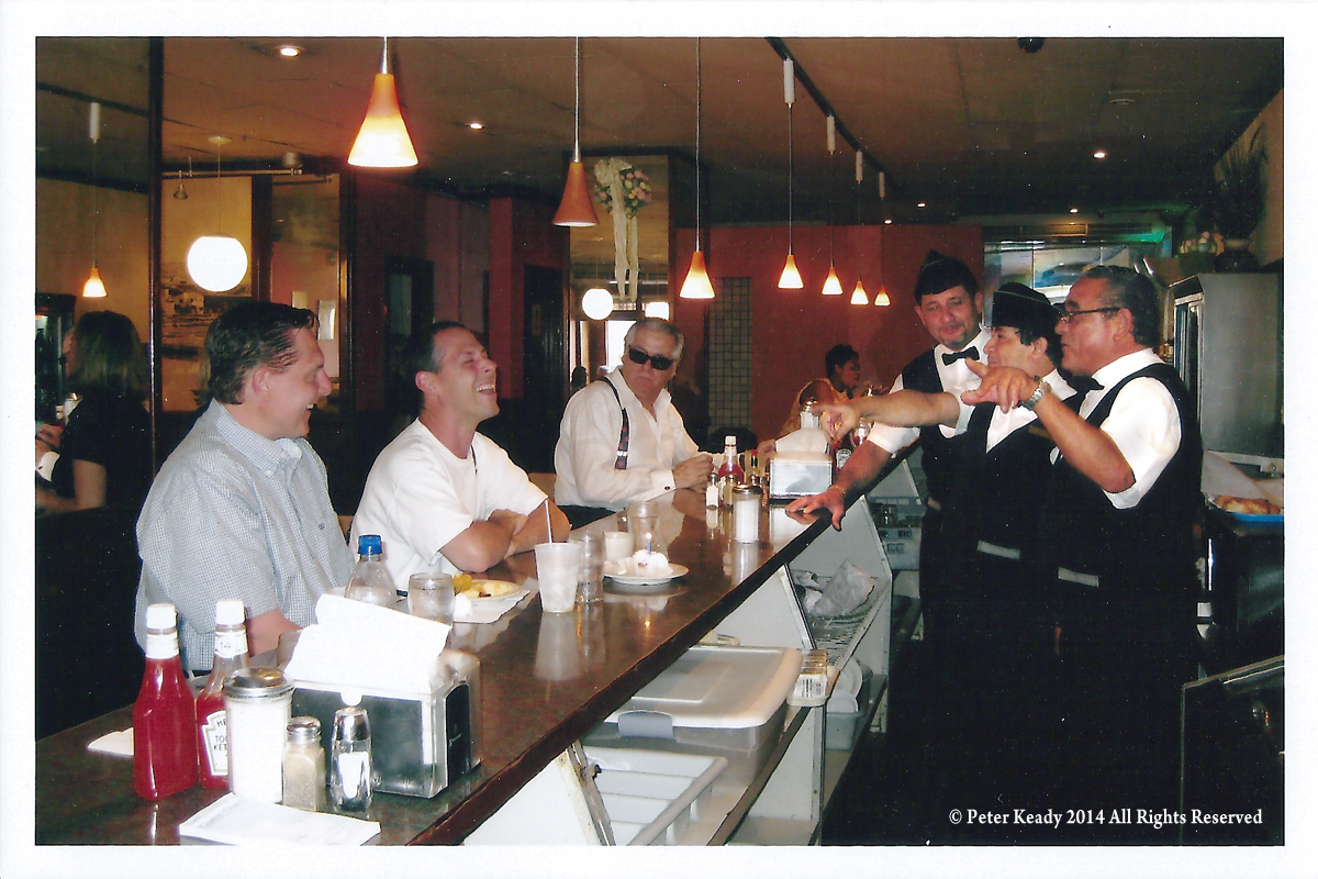 """If I hadn't sat at the counter, would the staff had sung, """"Feliz Cumpleanos"""" to me, in harmony, on my birthday? At least I don't have to wonder! My brother Vince is on the left. The staff were fantastic, I'll never forget them! You can see the massive coffee machine on the far right, behind the staff. Cool!"""