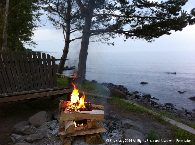 One of six bonfires that are lit each night  where my wife and her family are staying,  along the north shore of Lake Superior .
