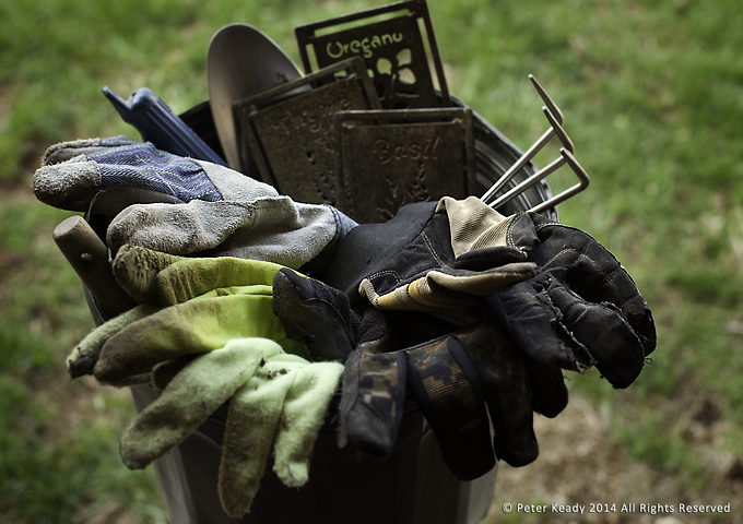 This is one of our buckets of gardening stuff. An assortment of various implements, markers and gloves. Some of the gloves have worn completely through. The tools always outlast the gloves! The same is true for Sabbath. Work quickly wears down the rest we take so taking more rest is essential for effective work!