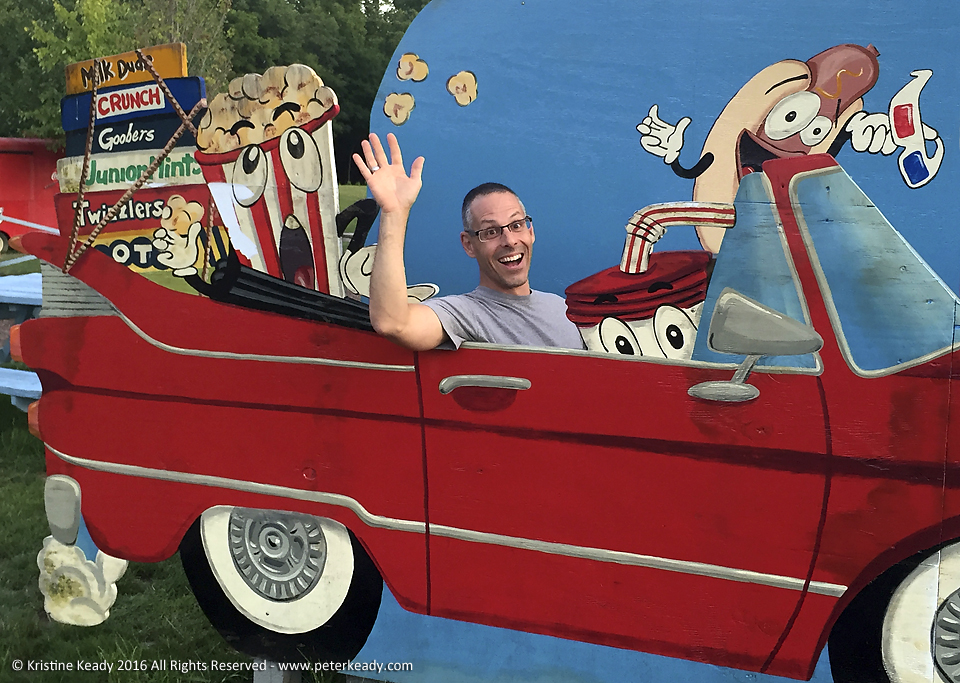 Having a little fun at the drive in! Thanks to my wife, who is just as playful as I am, for taking the photo!