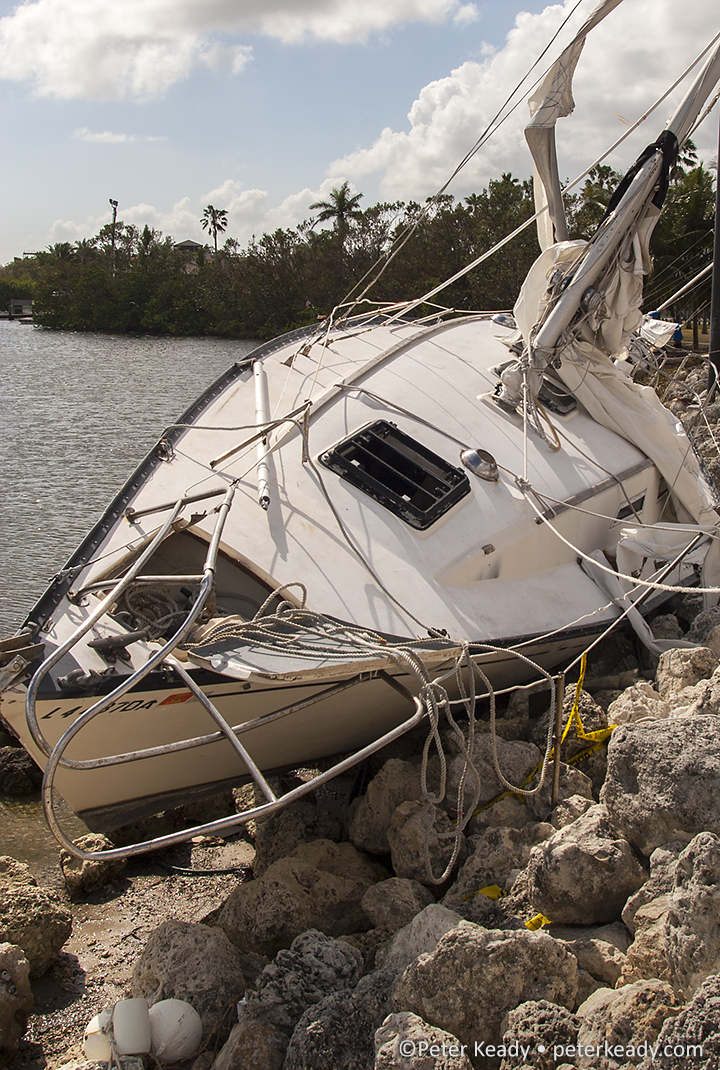 Shipwrecked sailboat near Miami, FL. Not properly moored, this boat wound up not only where it didn't belong but significantly damaged.