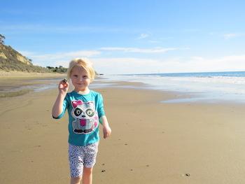 Shell hunting at the beach in Santa Barbara