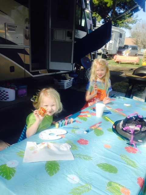 "Abby & Lily doing crafts in our ""front yard"""