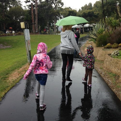 Santa Barbara Zoo with Gigi & Papa. Wet & rainy but still a lot of fun!