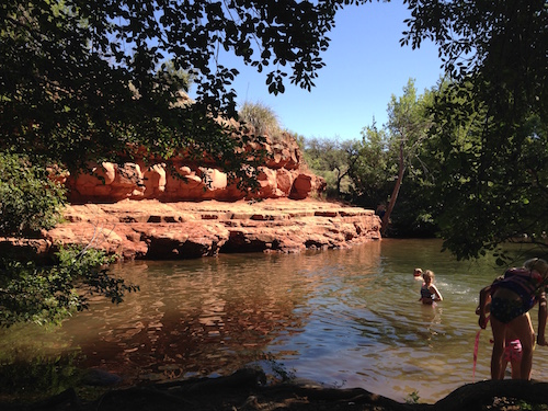 Swimming & rock jumping at Wet Beaver Creek