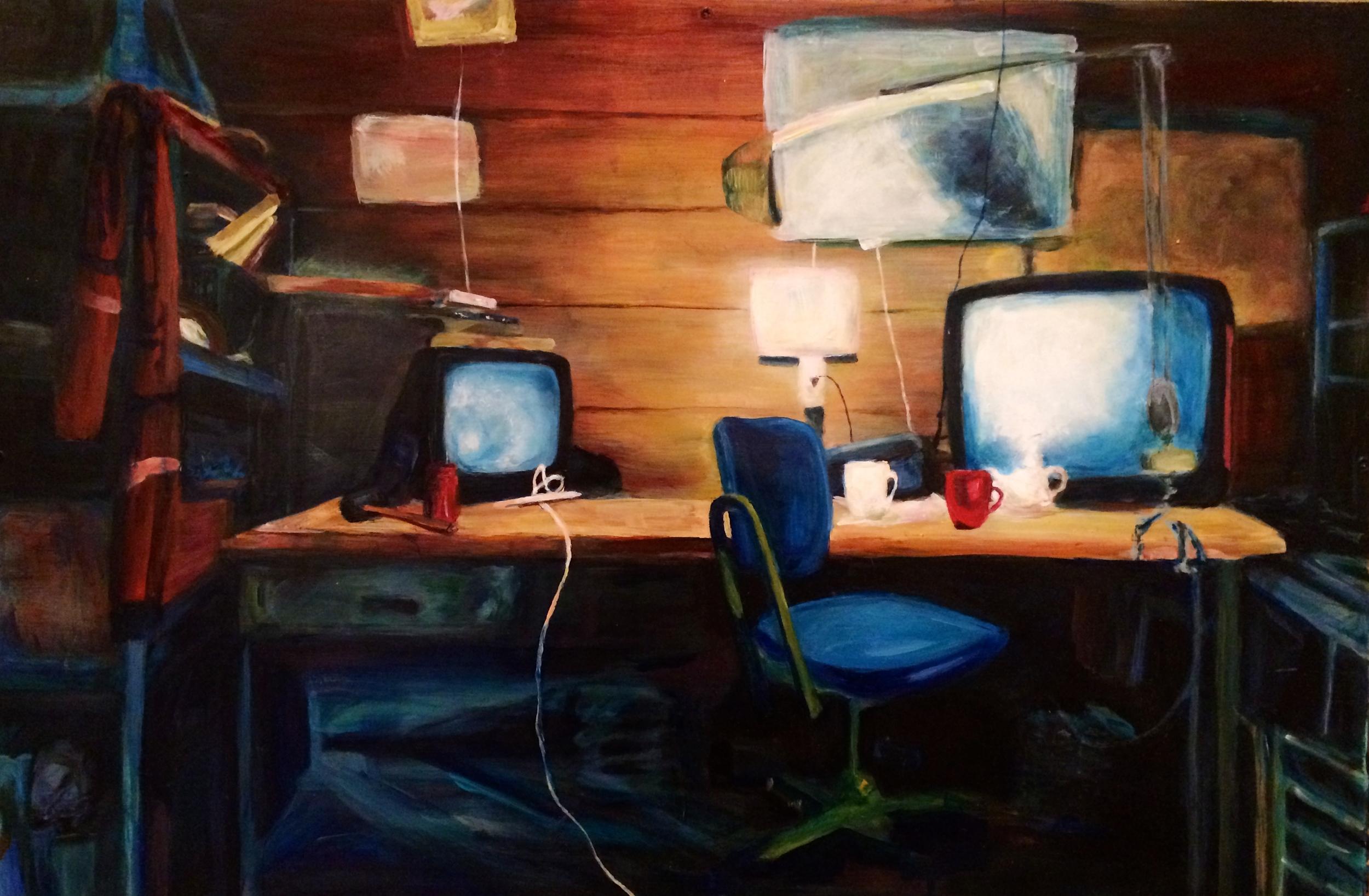 His Desk (2012) 3' x 4' oil on wood