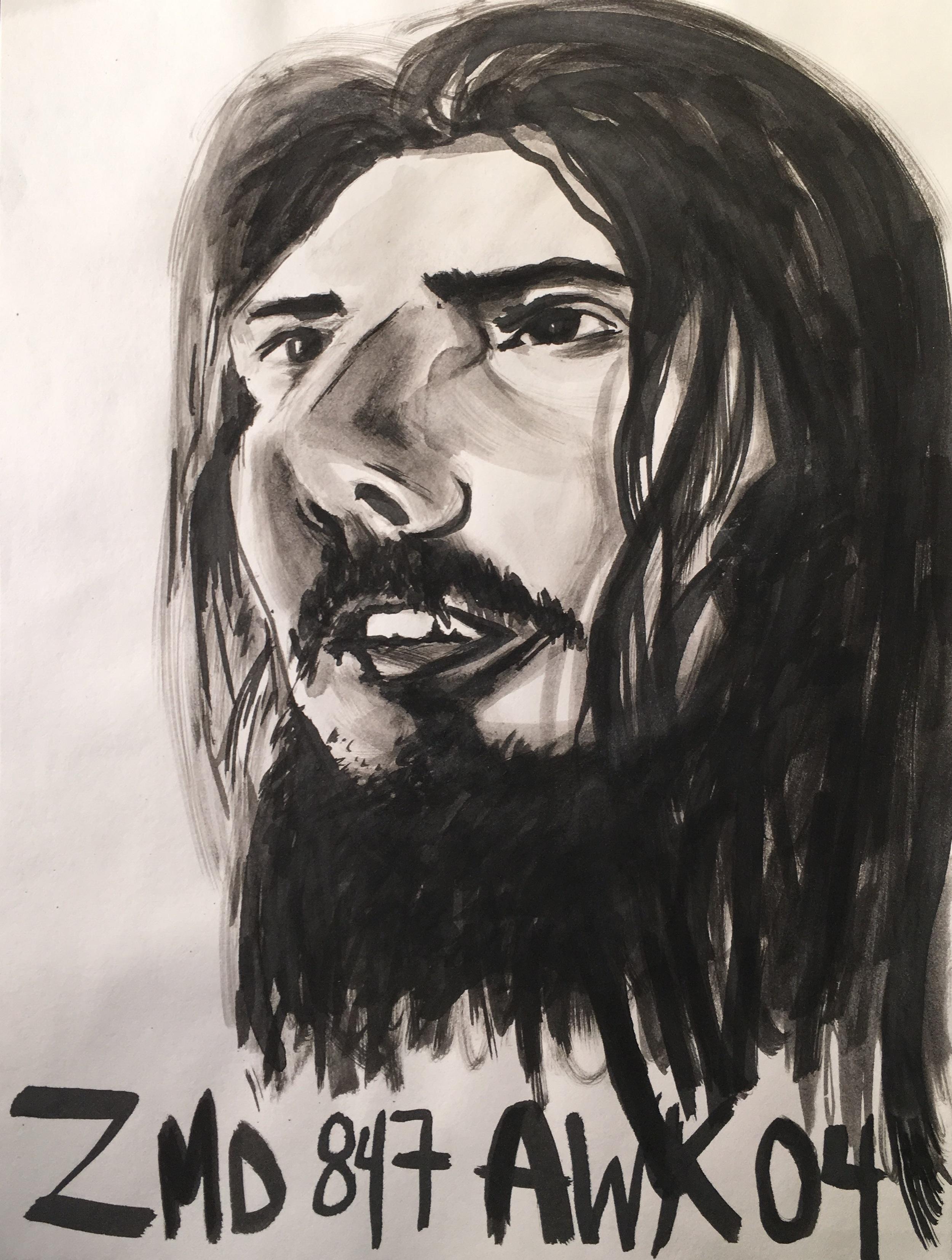 """steev mike 1 (2015) 9"""" x 12"""" ink on paper"""