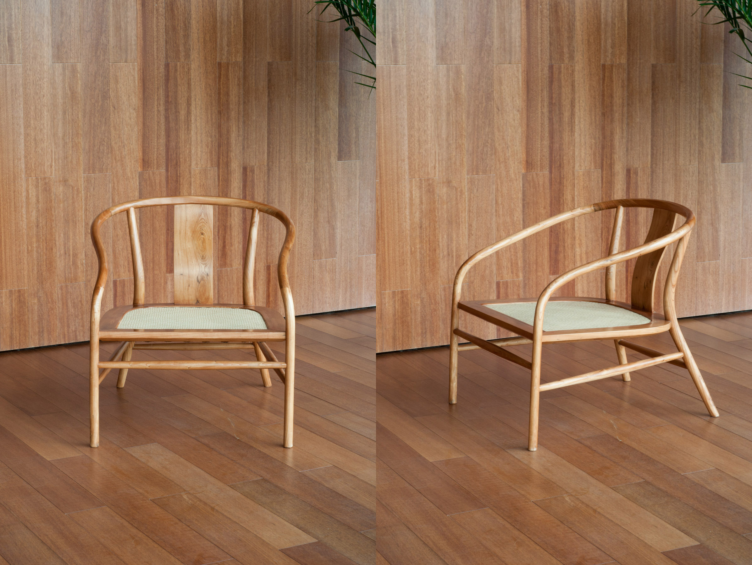 The low armchair is made with traditional technique and the seat is of woven bamboo with natural hemp webbing underneath for comfort.