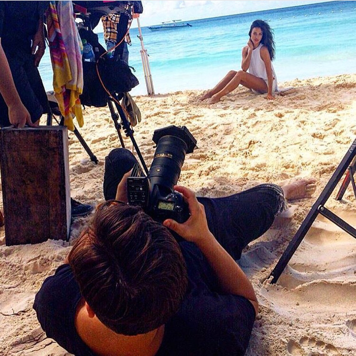 On set with Irina Shayk for Loce Republic SS16