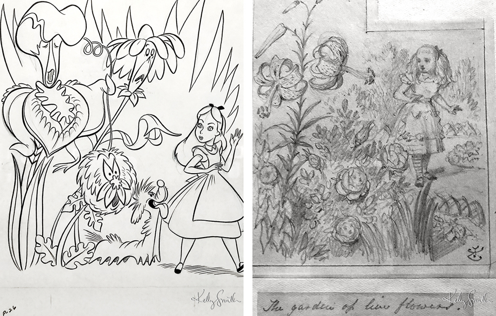 L-R Concept Art by Walt Disney Studios, Original Pencil Sketch by John Tenniel