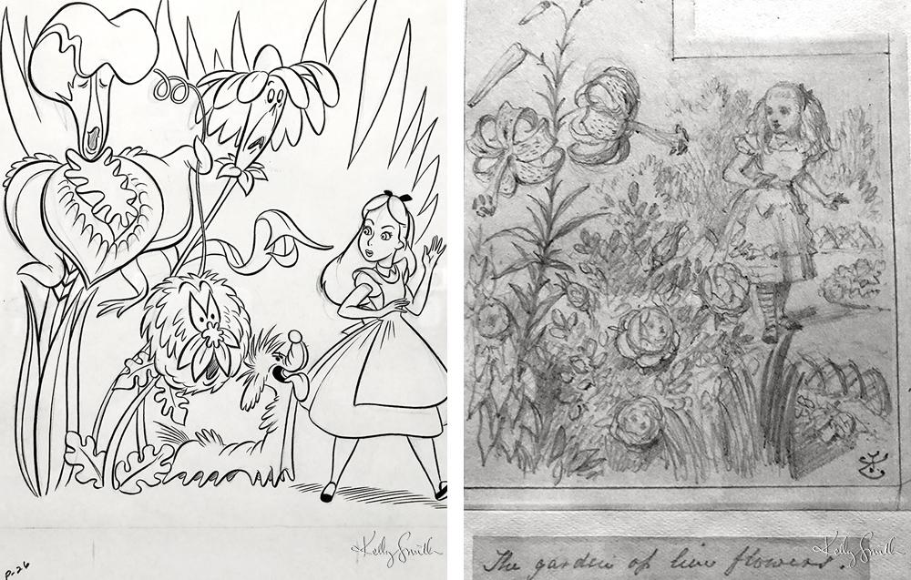 L-R Concept Art by Walt Disney Studios, Original Pencil Sketch by John Tenniel