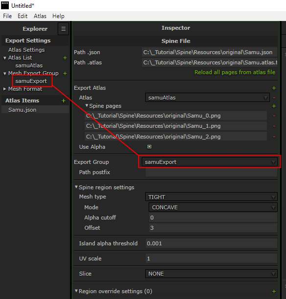 Export Group  - Reference to SpriteUV export group settings located in Mesh Export Group