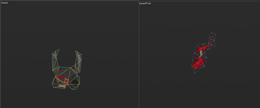 Mesh generated by SpriteUV is indicated as yellow and cyan wireframe. Imported mesh from Spine file, as blue wireframe