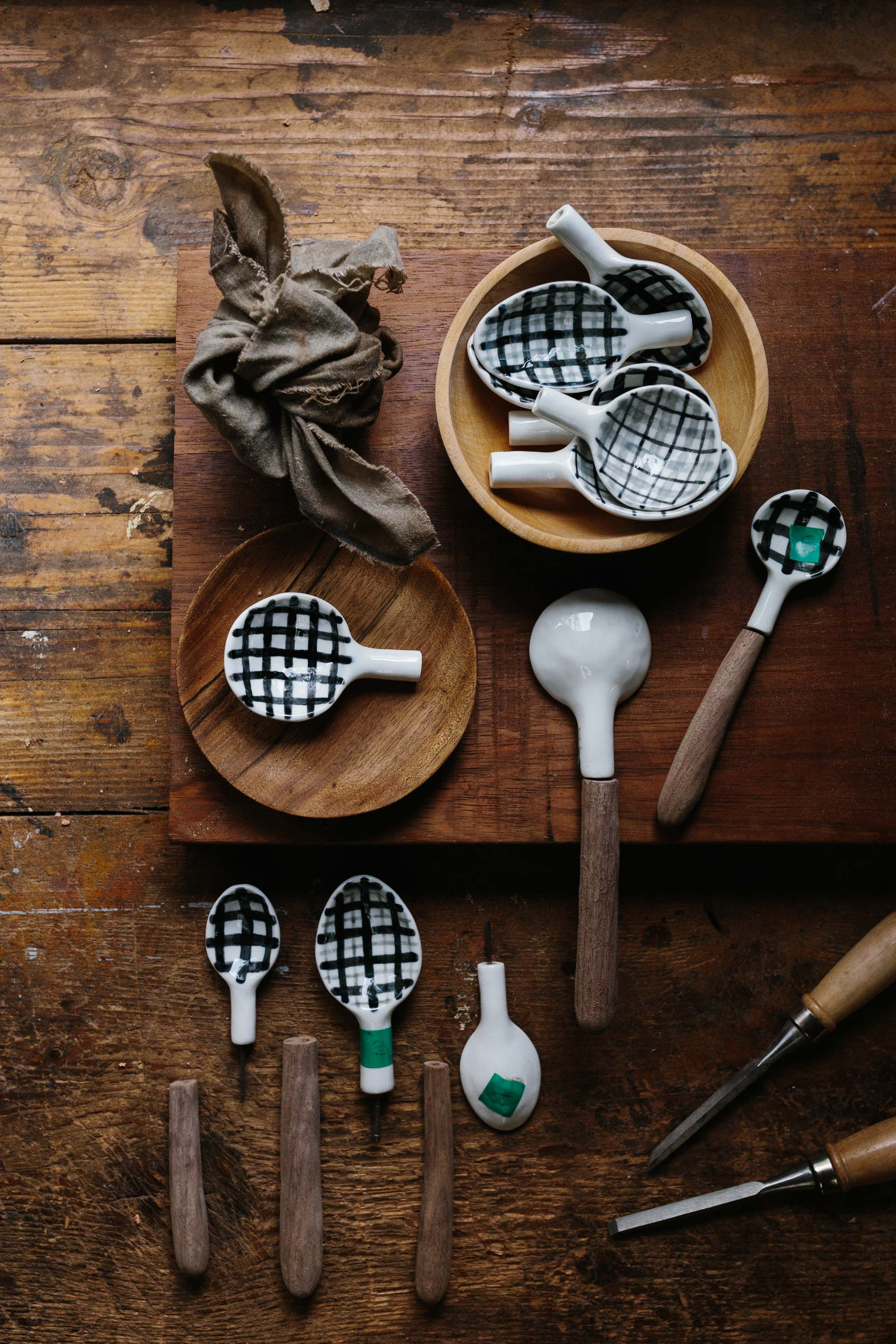 Erin Malloy, melbourne woodworker and maker | Collaboration porcelain and walnut spoon with Katia Carletti for Country Style
