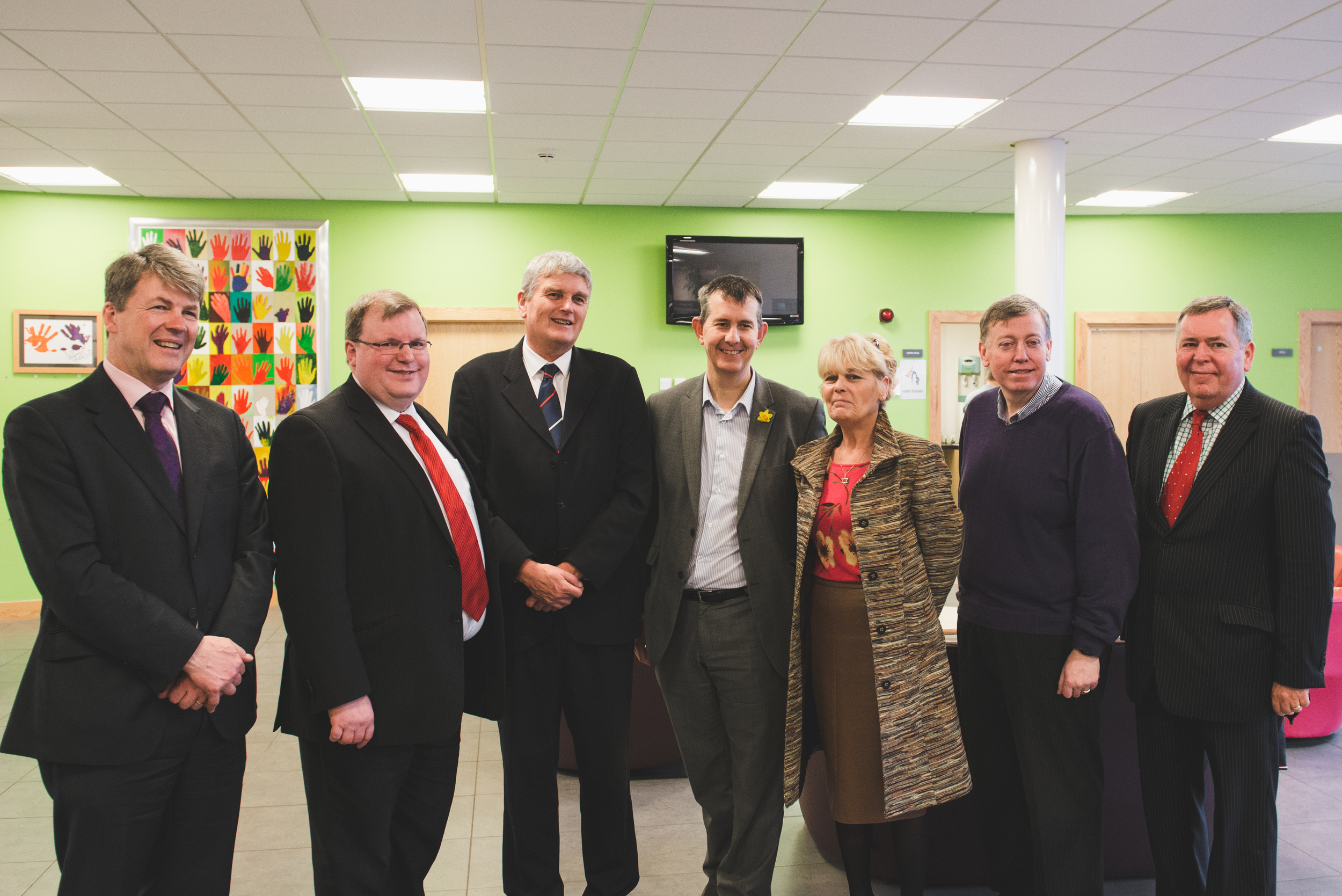 Hugh McCaugheyChief Executive of theSouth Eastern HSC Trust, Jonathon Craig MLA, Health Minister Jim Wells, Edwin Poots MLA, Anne Blake Chairperson of The Lisburn Carers Forum on Learning Disability, Lisburn Councillor Paul Porter andColm McKennaChairman of theSouth Eastern HSC Trust