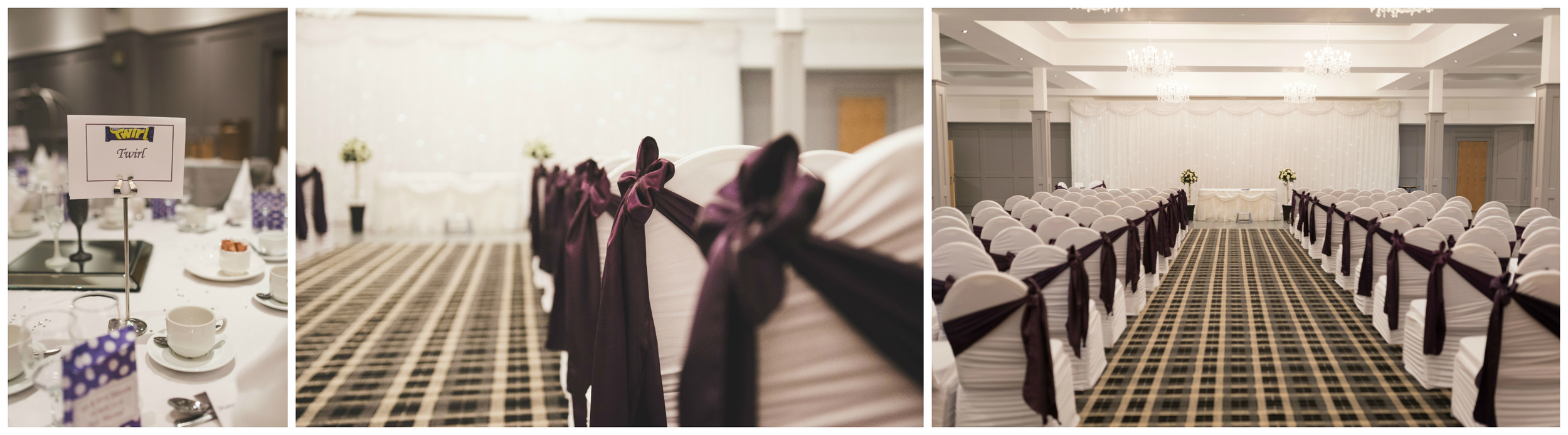 The room was beautifully decorated by Bernie at Over the Moon Wedding & Event Stylists and fitted perfectly with Philip and Violet's Cadburys theme.