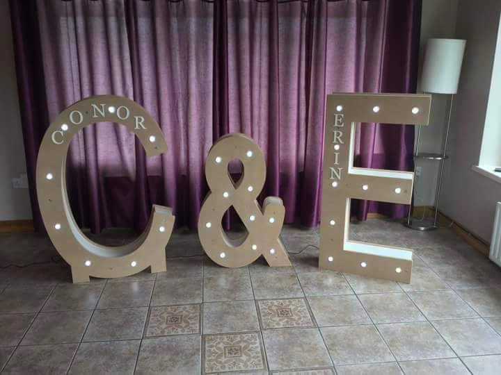 WoodKraft - 4ft LED Letters available to hire. £60 each plus delivery (varies on location). Can be delivered throughout Ireland. (Image provided by WoodKraft)