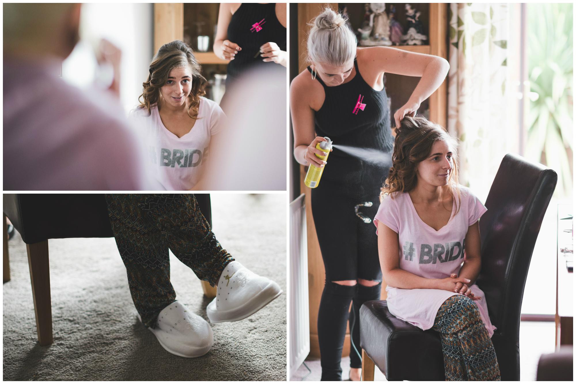 Ballymac_hotel_wedding_lisburn_bride_hair_slippers