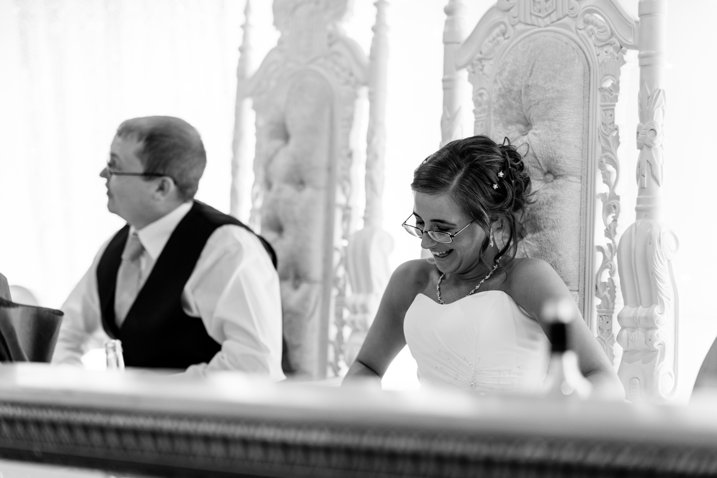 Ballymac_Hotel_Lisburn_Wedding_speeches_bride_laughing