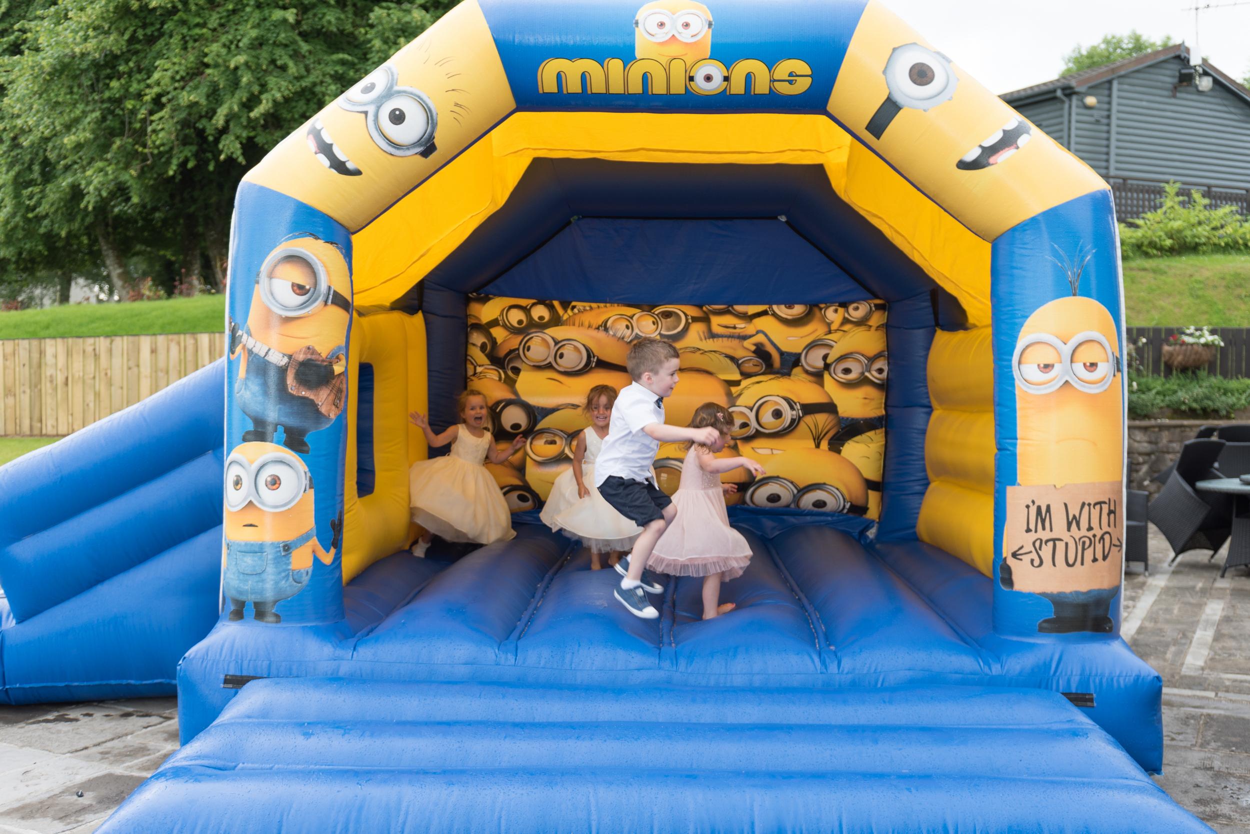Lusty Beg Island Northern Ireland Wedding Photographers Pure Photo N.I bouncy castle