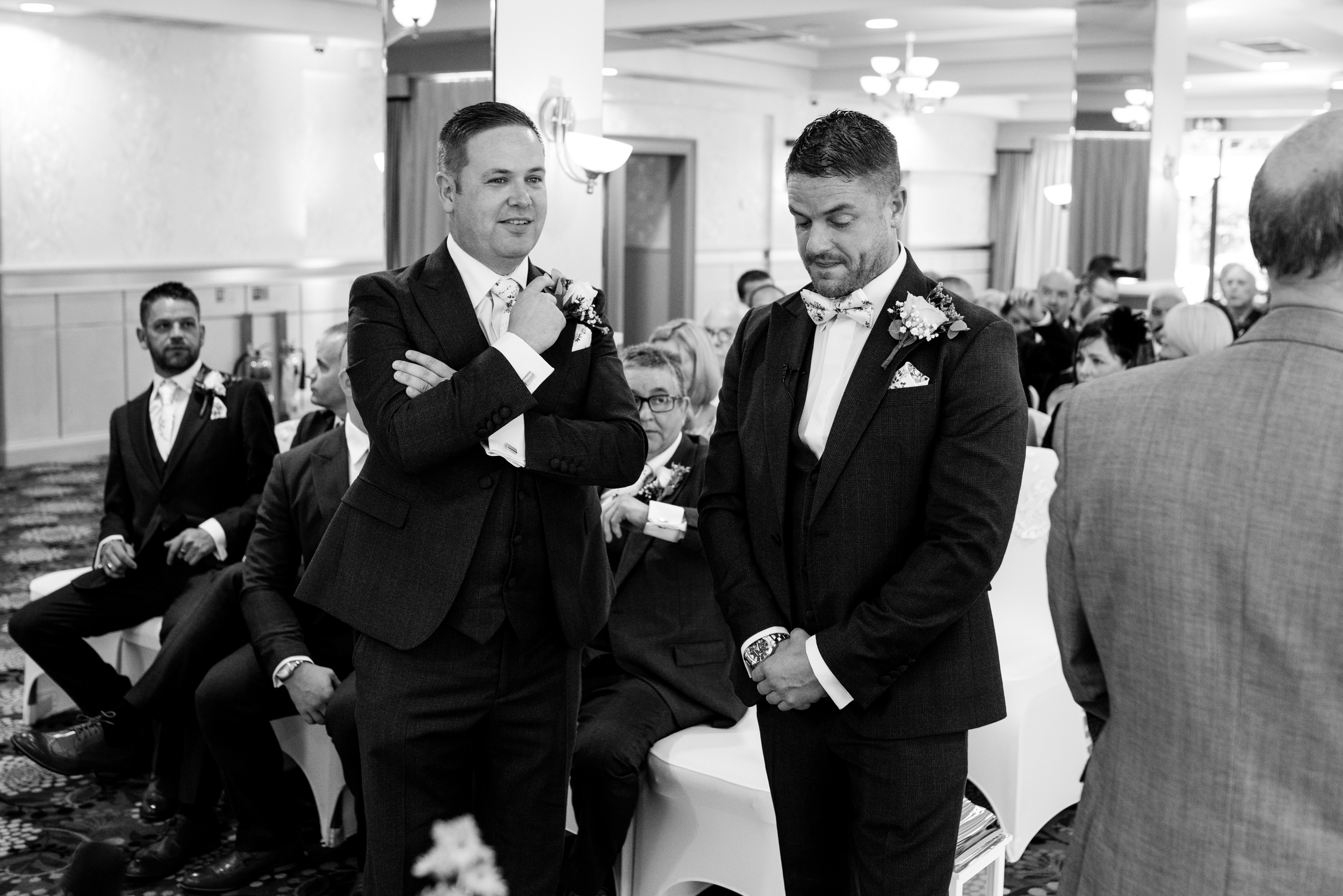 Belfast Wedding Photographer purephotoni Ramada Plaza groom waiting