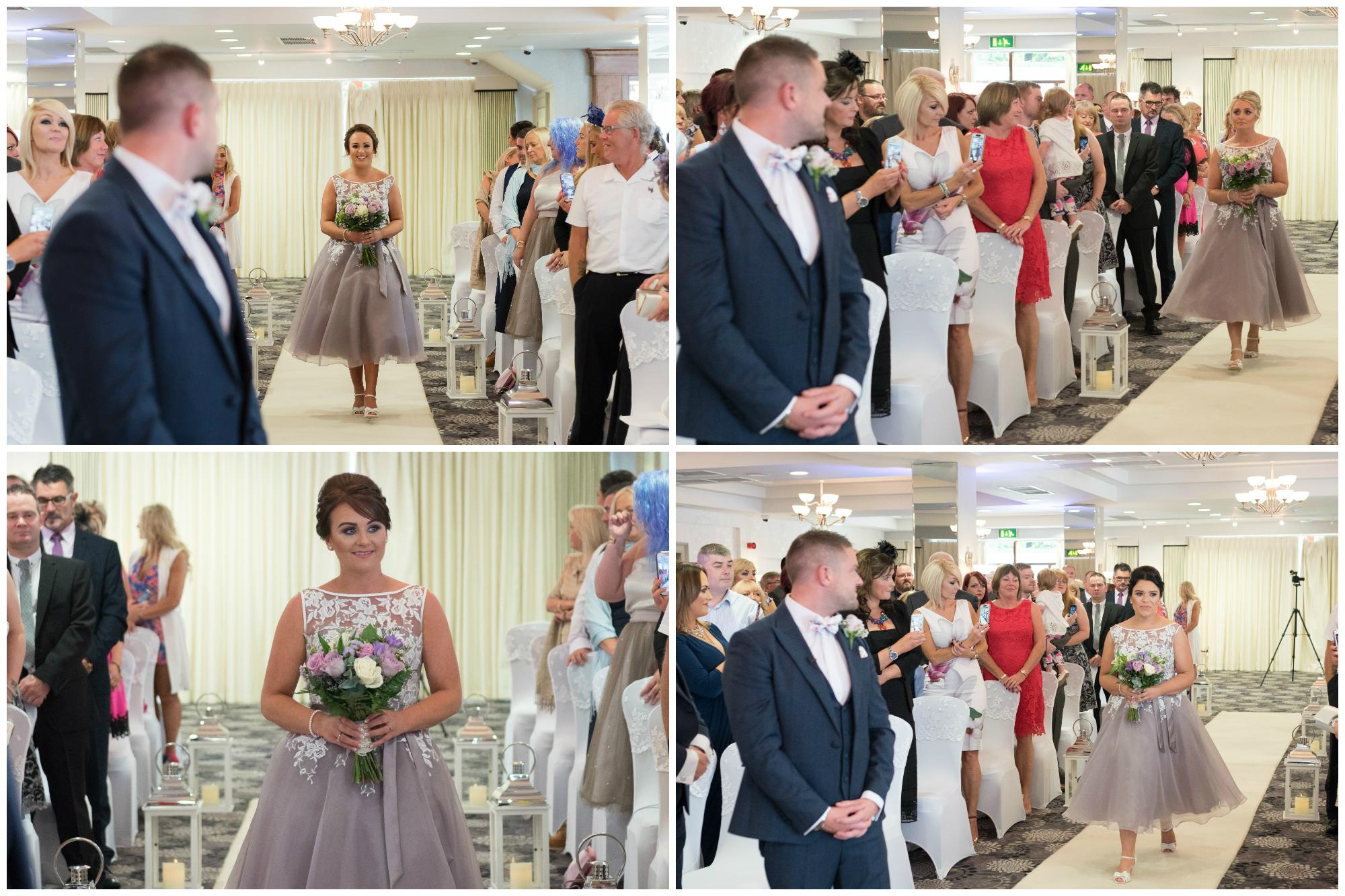 Belfast Wedding Photographer purephotoni Ramada Plaza bridesmaids aisle