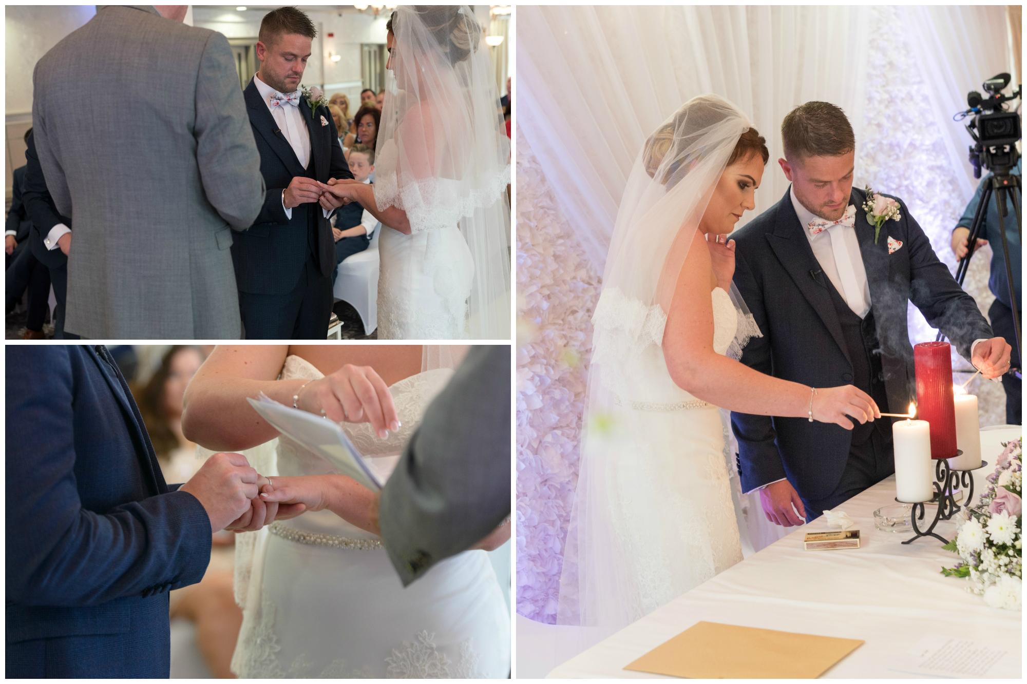 Belfast Wedding Photographer purephotoni Ramada Plaza ceremony bride and groom rings