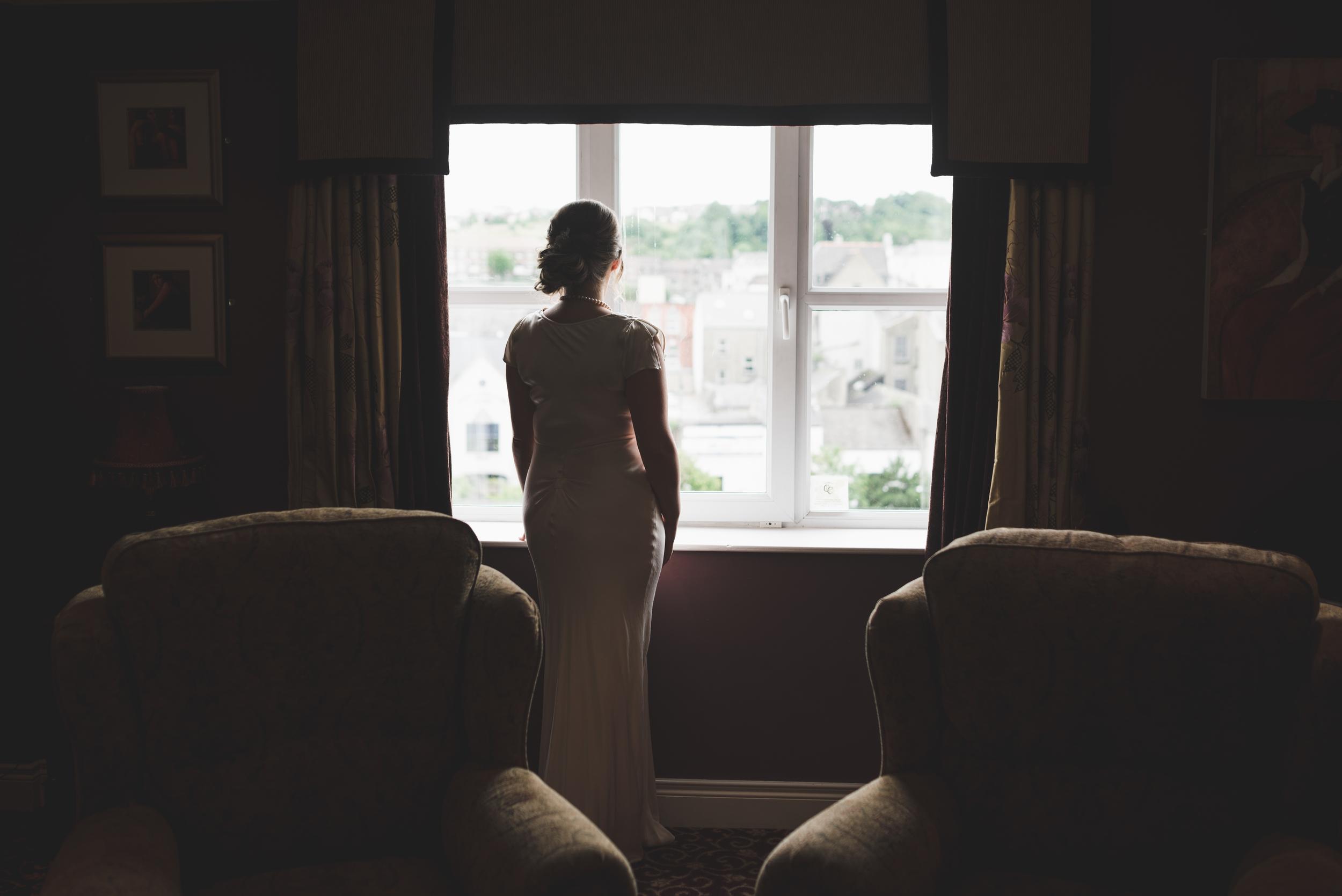 Canal Court Hotel Newry Wedding photographer Pure Photo N.I bride window