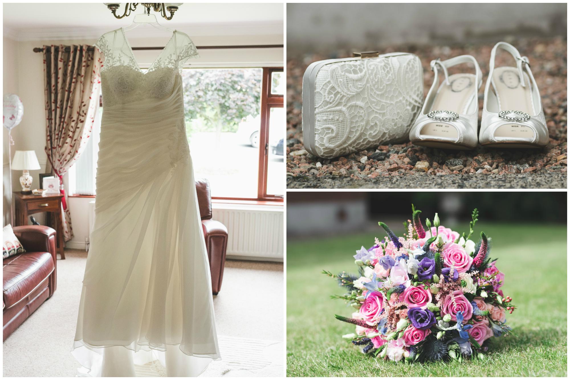 Lisburn Wedding Photographer Pure Photo N.I Magheragall Parish Church Dress Shoes Flowers
