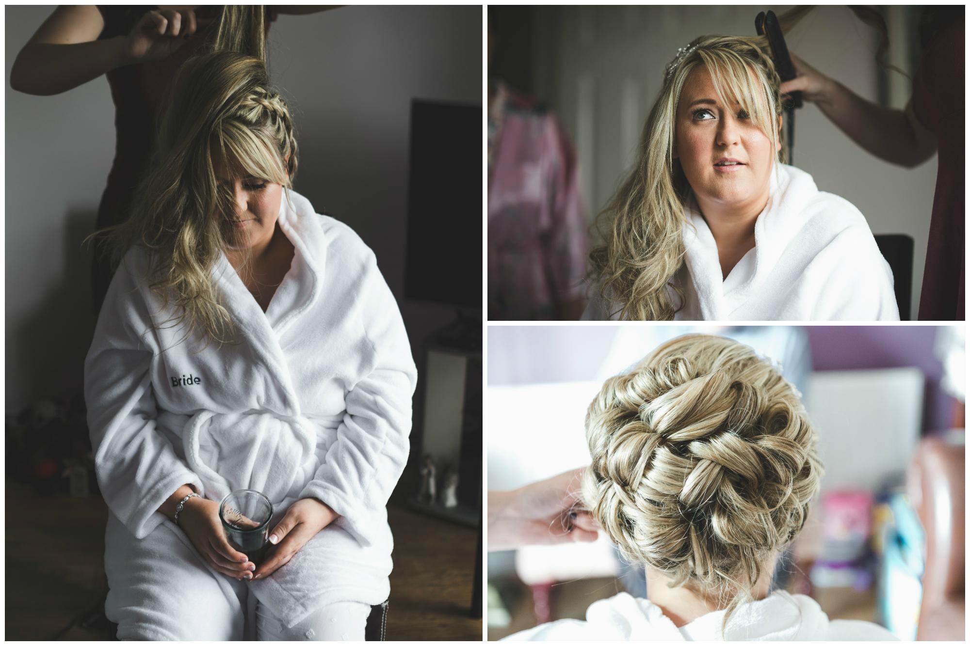 Lisburn Wedding Photographer Pure Photo N.I Magheragall Parish Church Bride hair getting ready