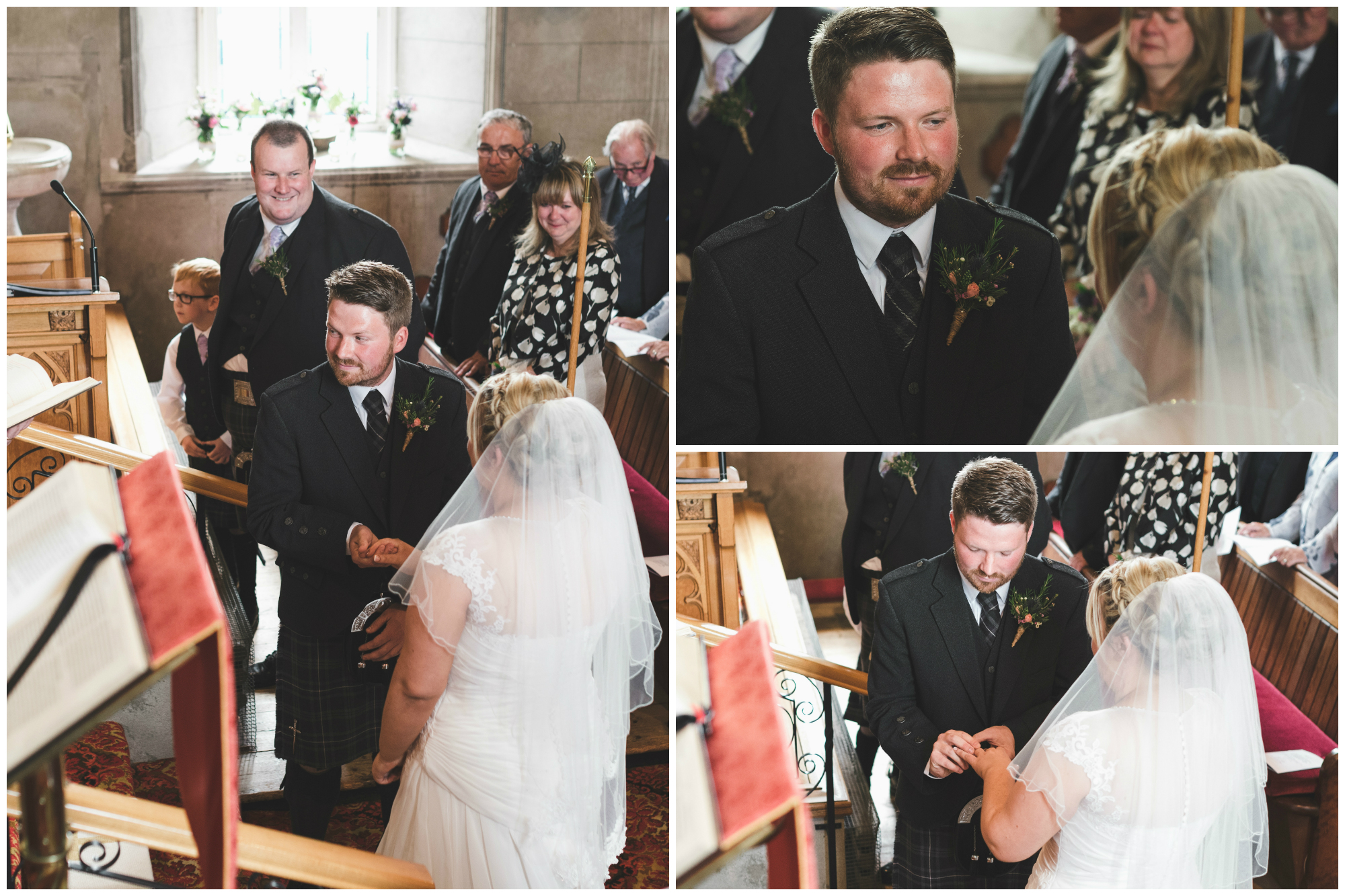 Lisburn Wedding Photographer Pure Photo N.I Magheragall Parish Church ceremony bride groom exchanging rings