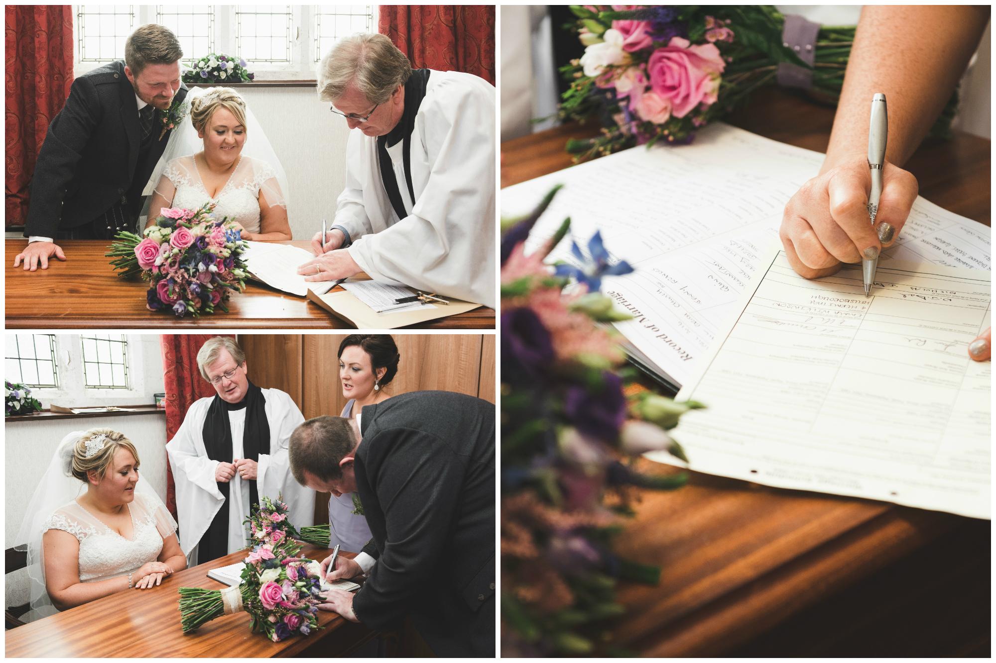 Lisburn Wedding Photographer Pure Photo N.I Magheragall Parish Church ceremony bride signing