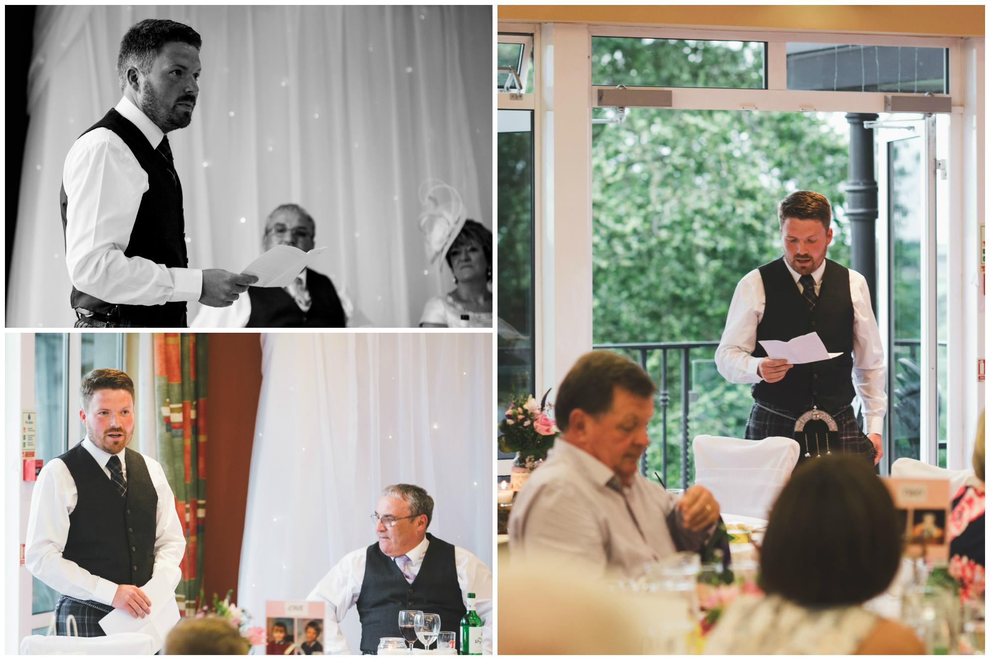 Lisburn Wedding Photographer Pure Photo N.I Edenmore Country Club speech groom