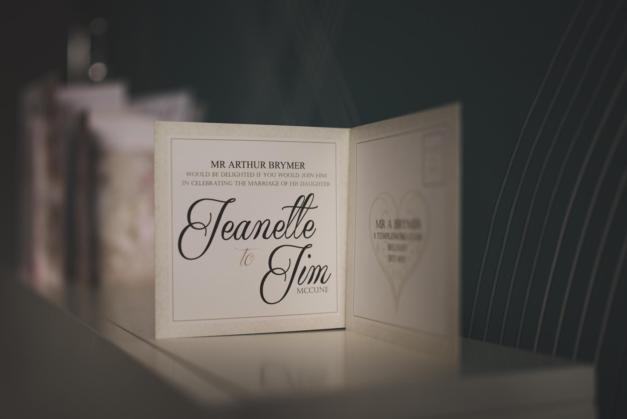 Invitation for a Belfast Wedding