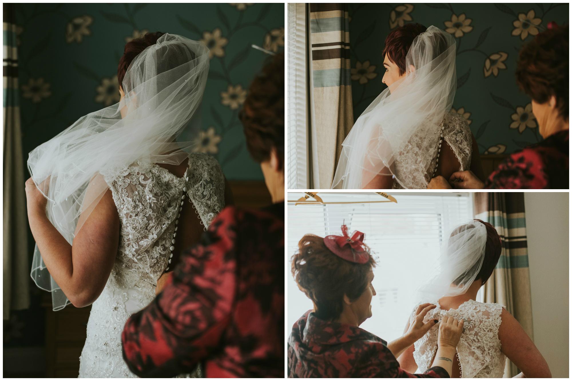 Limavady Wedding Pure Photo N.I bride putting dress on