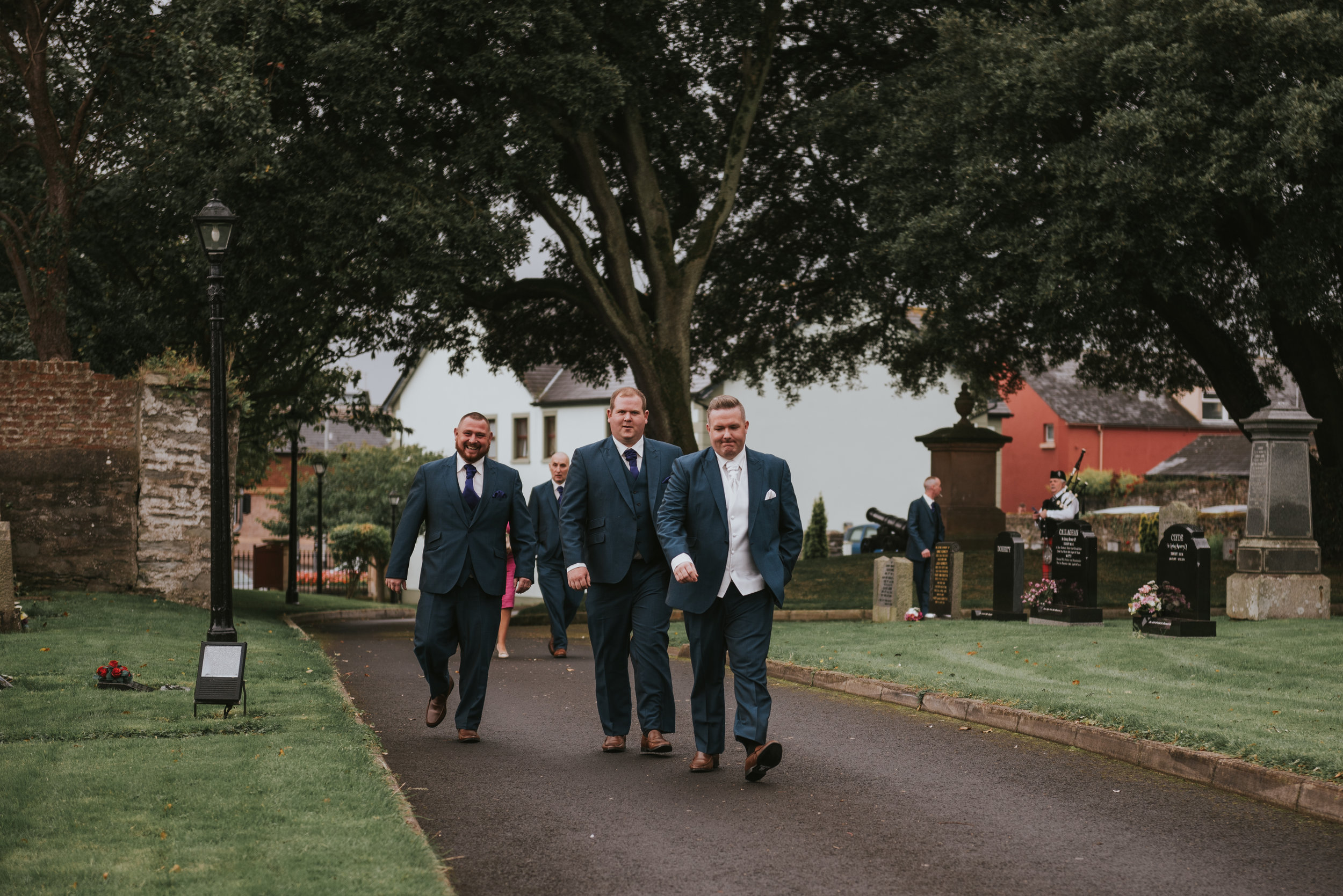 Christ Church Limavady wedding photographer Pure Photo N.I groomsmen arriving