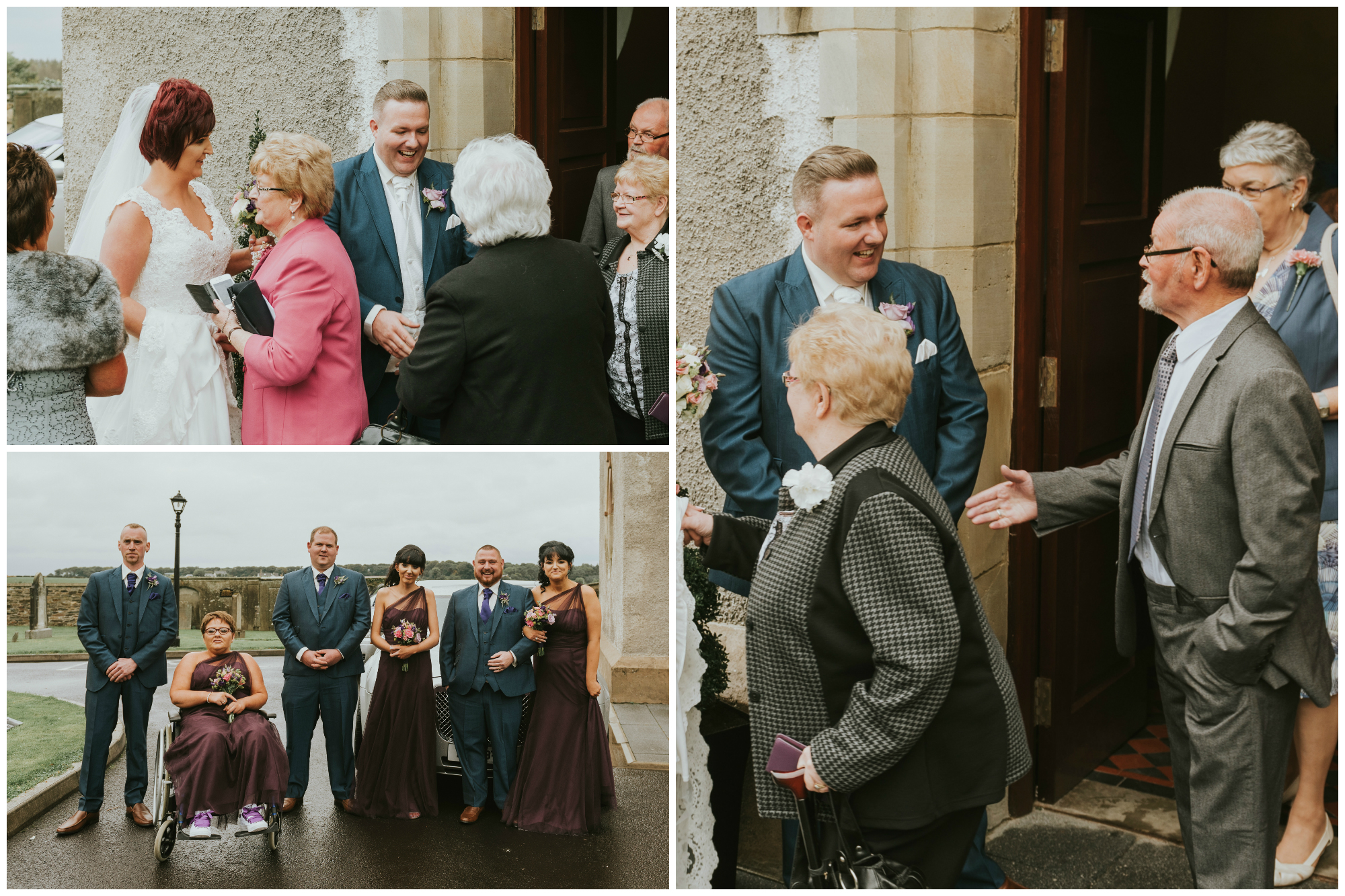 Christ Church Limavady wedding photographer Pure Photo N.I bride groom outside