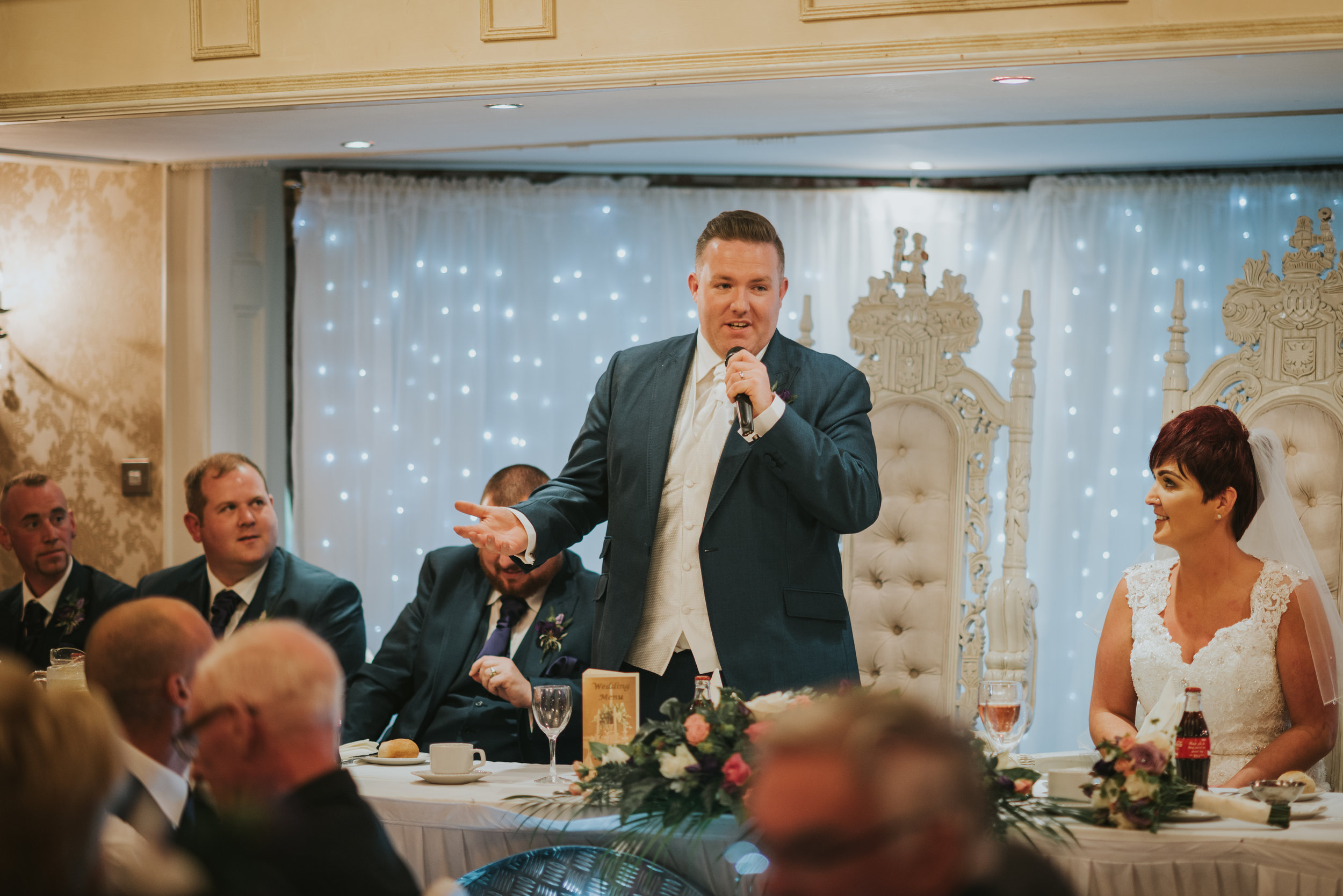 Bushtown Hotel Wedding Photographer Pure Photo N.I grooms speech