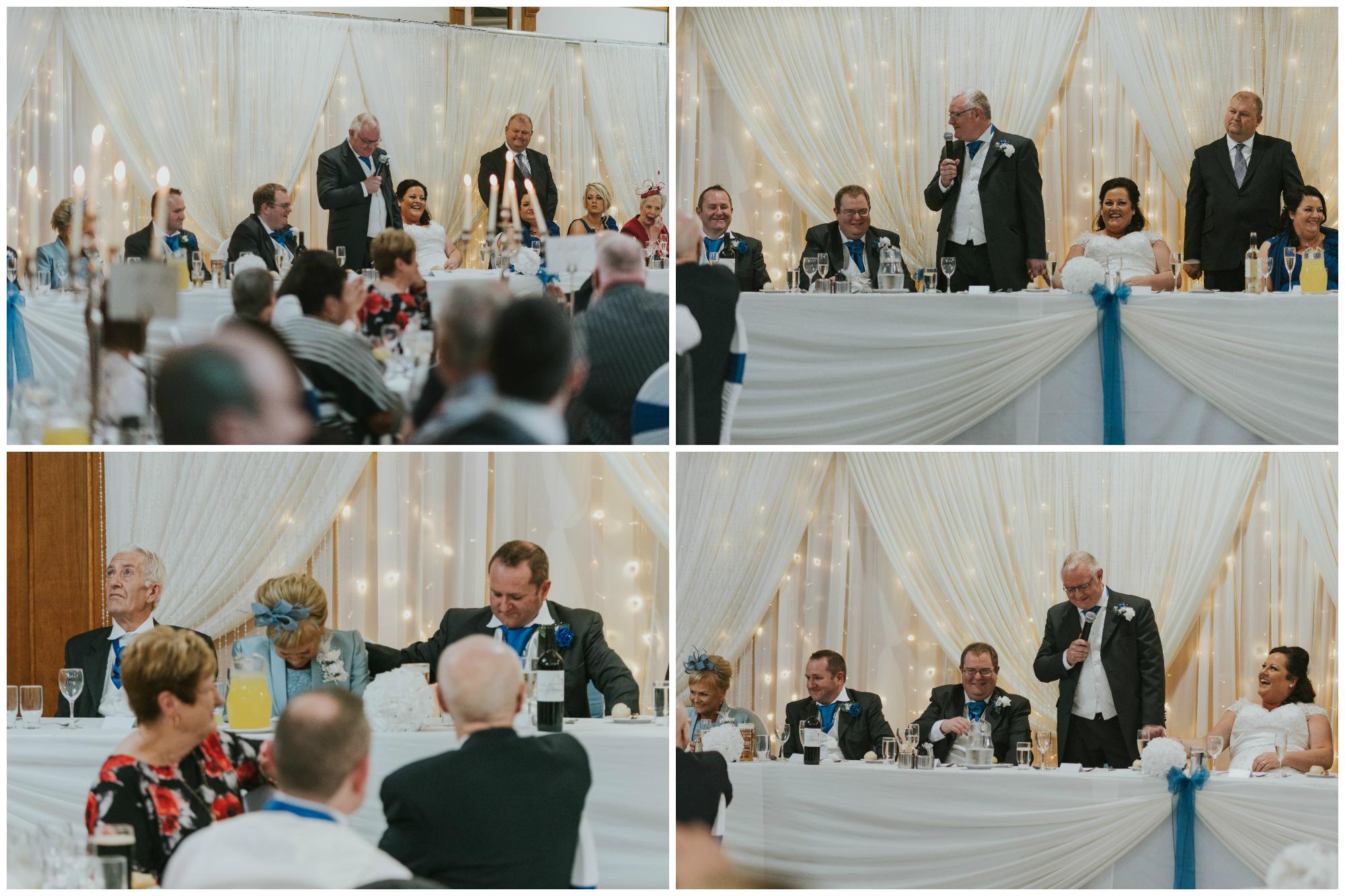 Balmoral Hotel Belfast wedding photographer Pure Photo N.I grooms speech