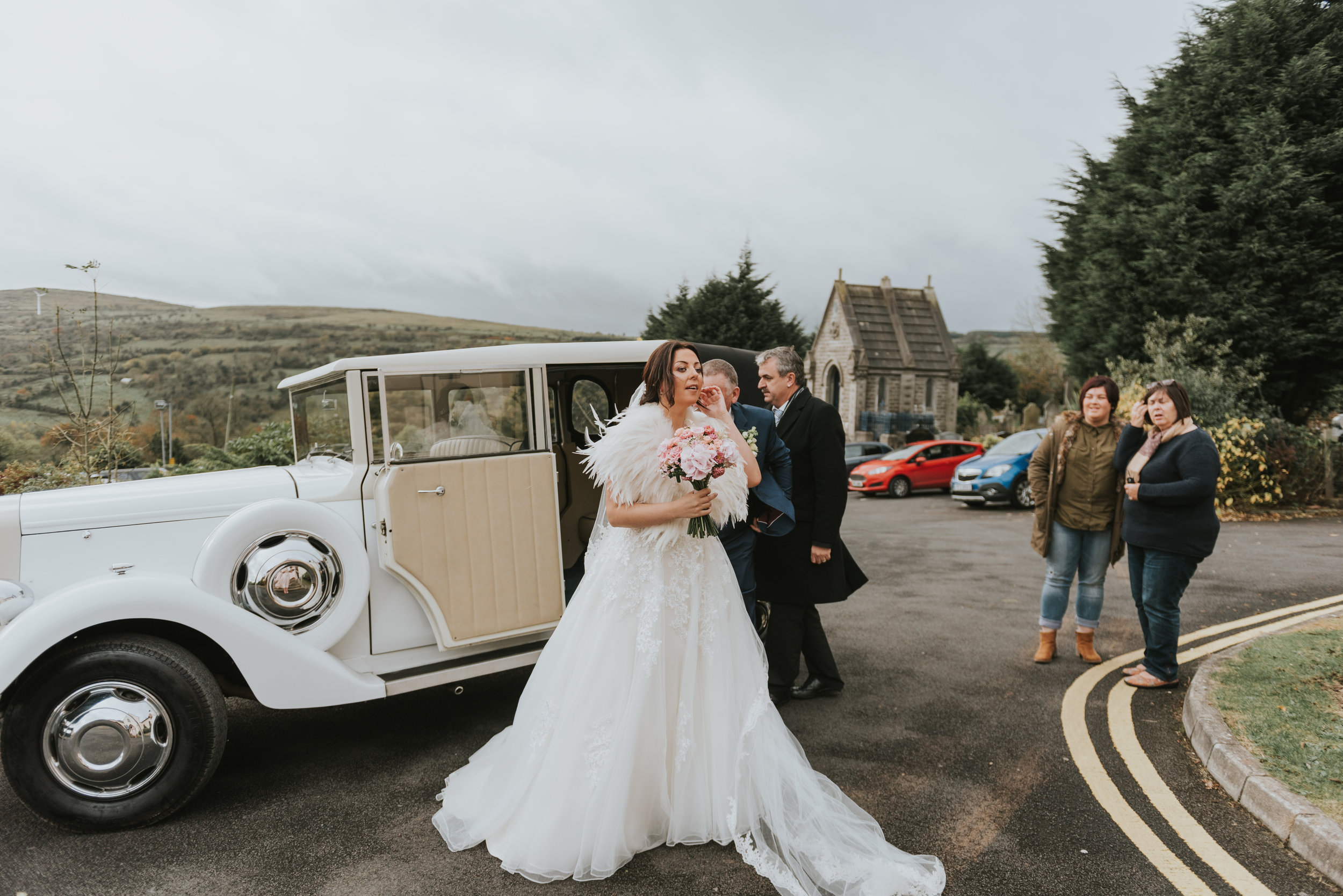 Tullyglass House Hotel Wedding ceremony bride and father in wedding car
