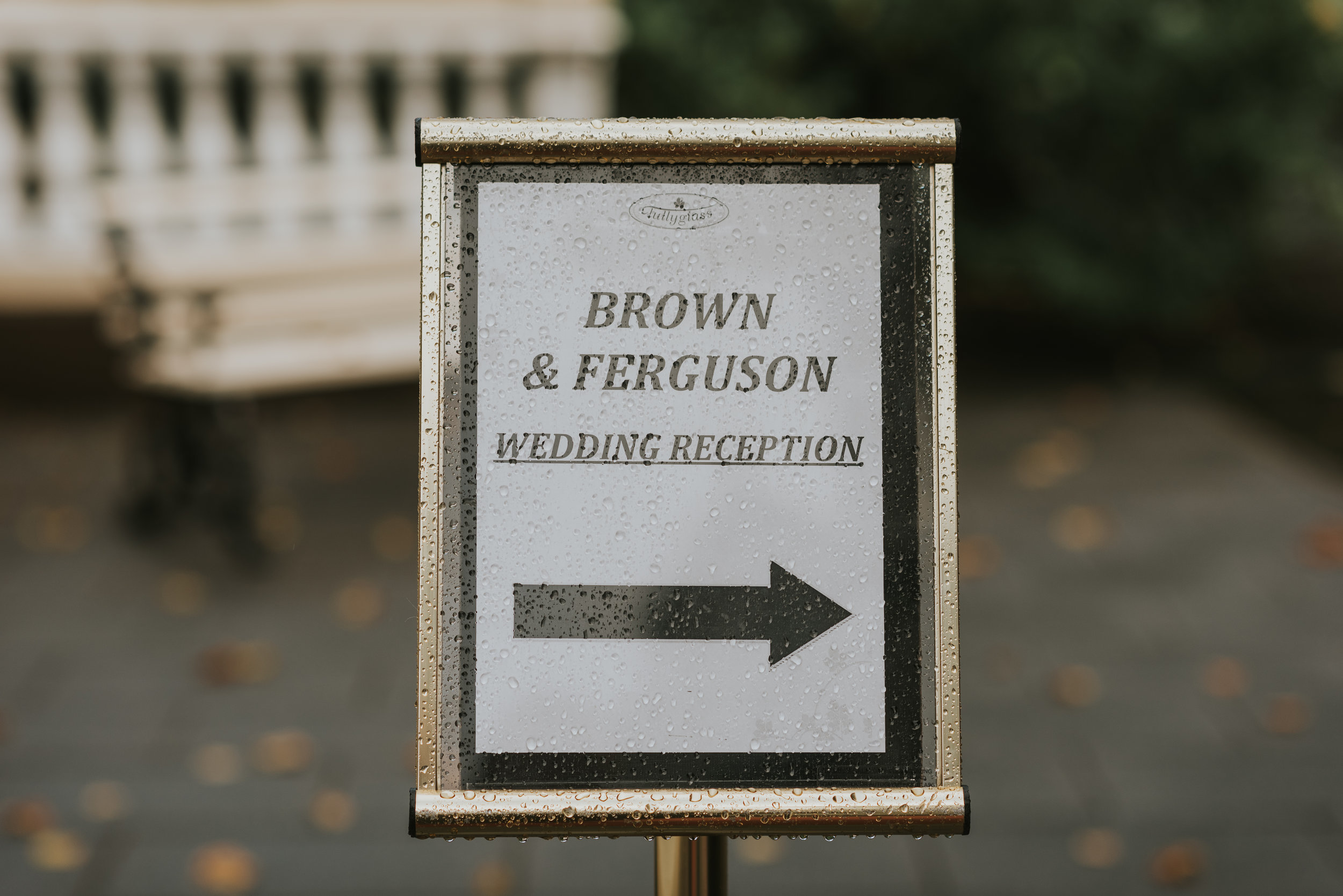 Tullyglass House Hotel wedding sign